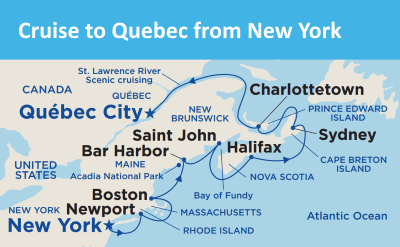 Princess cruise Quebec map